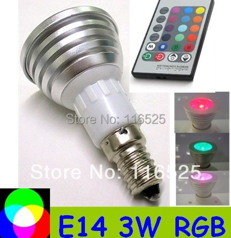 1pcs 3W RGB Spotligh E14 base with remote controller  Free shipping LED bulb RGB Ligh decoration light E14 base 1pcs