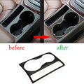For Audi A5 A4 B8 2009-2015 Carbon Fiber Trim Cup Holder Decorative Frame Decal Cover Sline Logo Sticker Cover Car Styling
