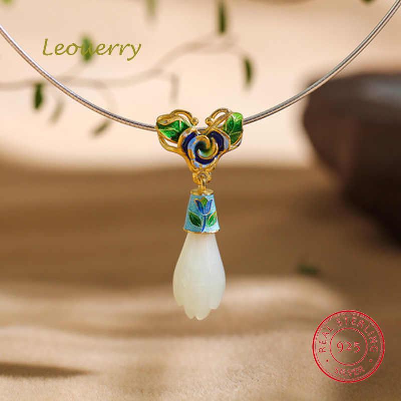 Leouerry oryginalny Hetian Jade orchidea wisiorek naszyjnik luksusowe 925 Sterling srebrny kołnierz naszyjnik dla kobiet w stylu Vintage biżuteria