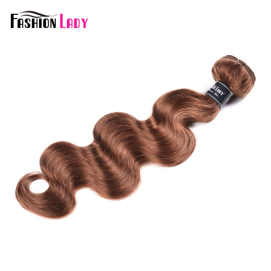 Fashion Lady Pre-colored Indian Bundles Hair Weft 100% Human Hair in Color 30 Body Wave Bundles 1 Piece Hair Extension Non-remy