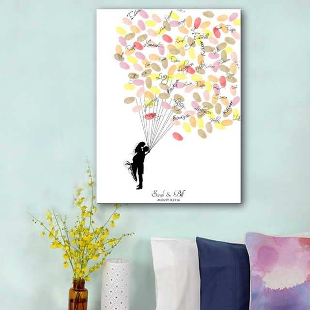 Fingerprint Balloon Signature Canvas Painting Hug Of Bride Groom Wedding Gift Decoration Diy Guest Book