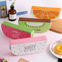 High Quality PU Leather Fruit Pencil Cases Stationery Store Big Size School Pencil Bag For Students Gifts Pencil Box Large Size