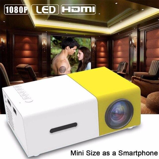 Mini 1080 P Full HD LED Proyector LCD de Cine en Casa Inteligente AV HDMI Multimedia EE.UU. Plug Luz y portátil