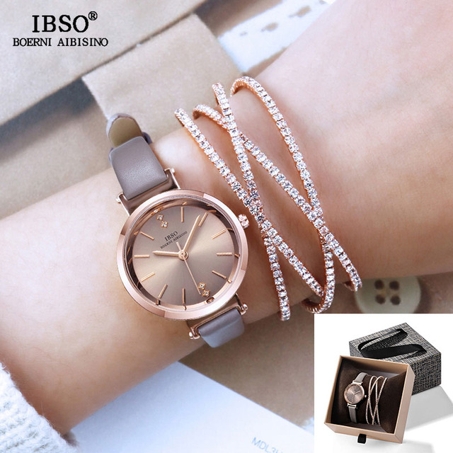 IBSO Women Watches Set Luxury Ladies Quartz Watch with Crystal Bangle 2019 New W