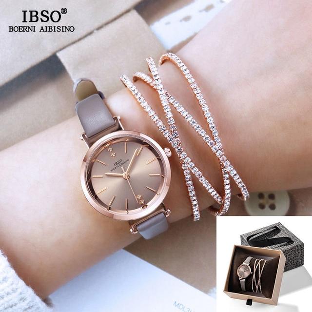 IBSO Women Watches Set Luxury Ladies Quartz Watch with Crystal Bangle 2019 New W