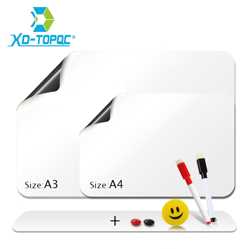 XINDI Flexible Mini Whiteboard Fridge Magnets Soft Message Board Refrigerator Memo Pad Magnetic Notes White Boards Stickers FM03