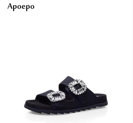 Apoepo summer newest crystal embellished sandal slipper open toe comfortable leather shoes cutouts flat gladiator slipper 2017 newest summer black brown leather sandal for woman sexy open toe flat crystal sandal sequins bead t strap buckle shoes