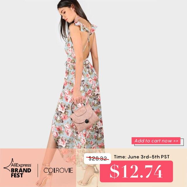 0cec9324462d4 COLROVIE V-Neck Crisscross Backless Floral Rose Print Wrap Belted Boho  Beach Maxi Dress 2019 Summer Women Vacation Shift Dress