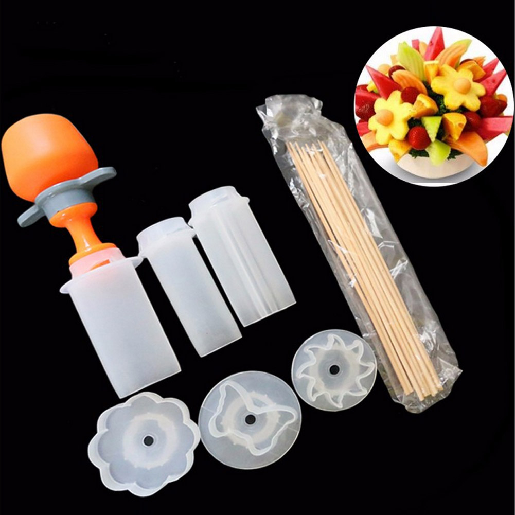 Kitchen Gadgets Plastic Fruit Shape Cutter Slicer Set Food Snack Maker Cake Decorator Tools 2017ing