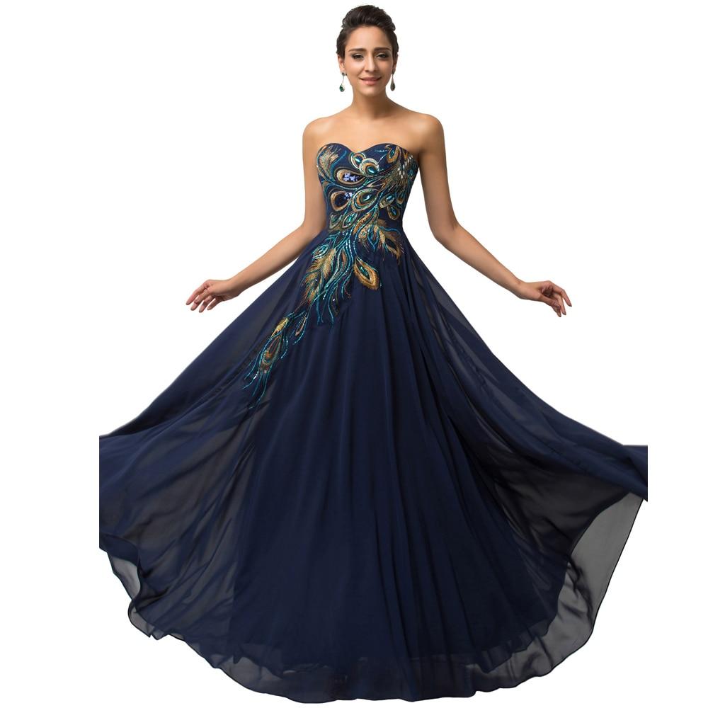 Aliexpress.com : Buy 2015 Romantic A line Peacock Applique Prom ...