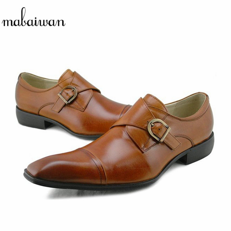 Mabaiwan Brown Casual Men Dress Shoes Handmade Genuine Leather Luxurious Wedding Shoes Men Indian Business Formal Footwear Flats