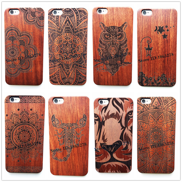 brand new 0ba5f bfa82 US $8.54 5% OFF|29Style Flower Animal Indian Totem Original Bamboo Wood  Phone Case For Iphone 7 7Plus 5 5S SE 6 6S Plus Wooden Iphone6 Cover-in  Fitted ...