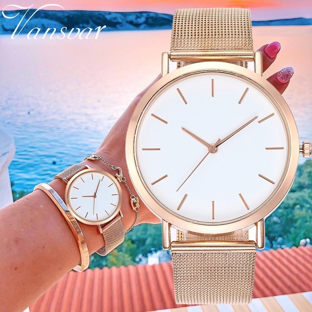 Hot Sale Women Rose Gold & Silver Wristwatches Fashion Luxury Women Simple Dial