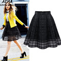 Summer New Style Sexy Fashion Skirt Women Striped Hollow-out Gauze Fluffy Skirt Swing Pleated Skirts Plaid Shirt High Quality