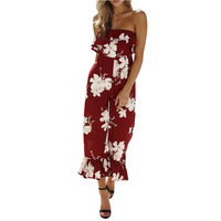 Lily Rosie Girl Sexy Off Shoulder Ankle Length Pants Women Playsuits 2018 Summer Backless Beach Print