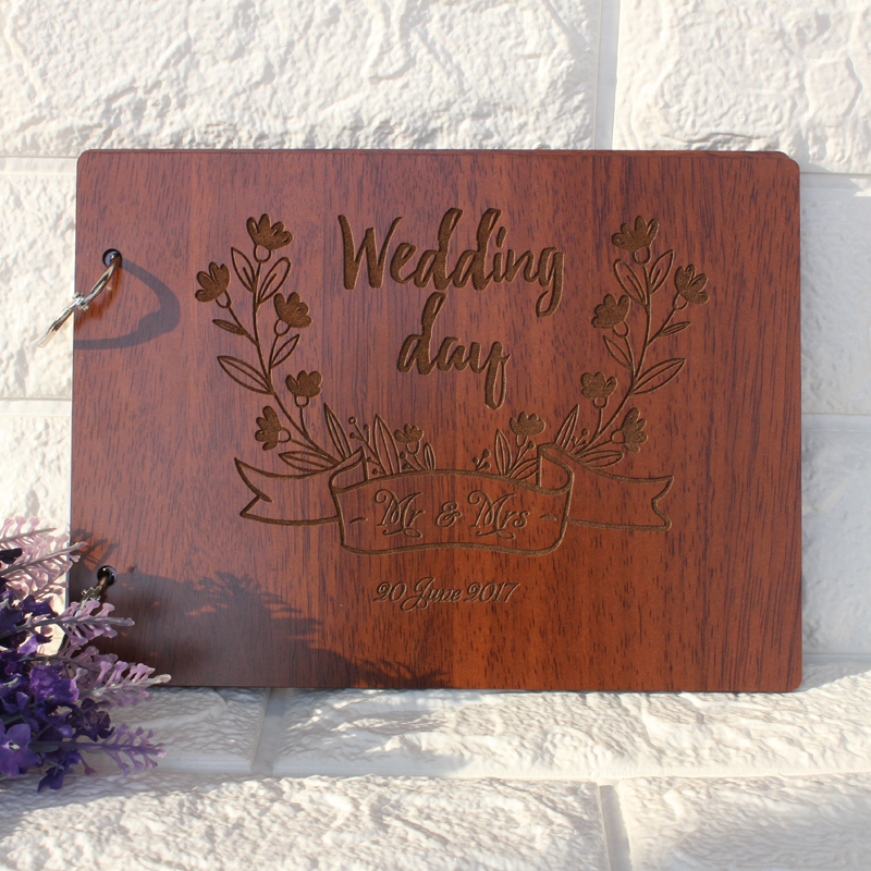 Wooden Wedding Guest Book,Personalized Wedding Guest Book,Custom Engagement Sign Book,Rustic Engraved Photo Album, Wedding Decor
