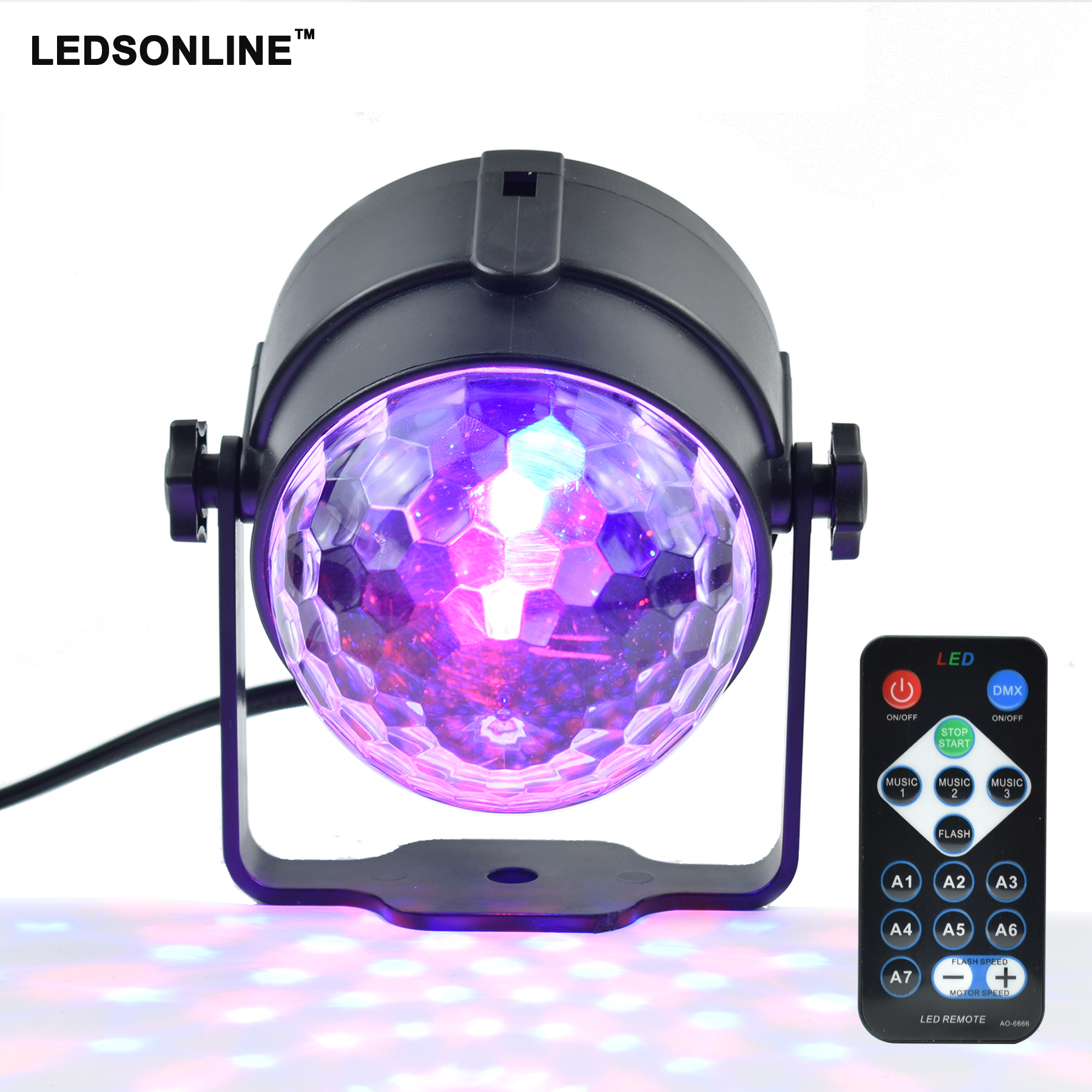 все цены на Mini RGB 3W Crystal Magic Ball Led Stage Lamp DJ KTV Disco Laser Light Party Lights Sound IR Remote Control Christmas Projector онлайн