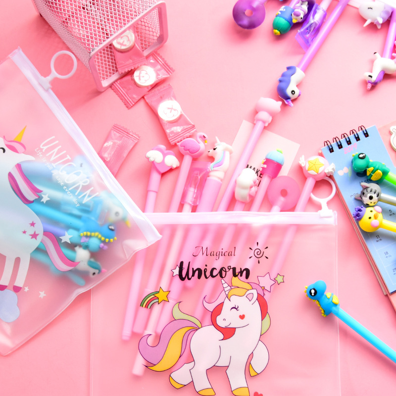 10 Pcs / Set Gel Pen Unicorn Caneta Cartoon Papelaria Kawaii Pens For School Kalem Material Escolar Lapices Pens