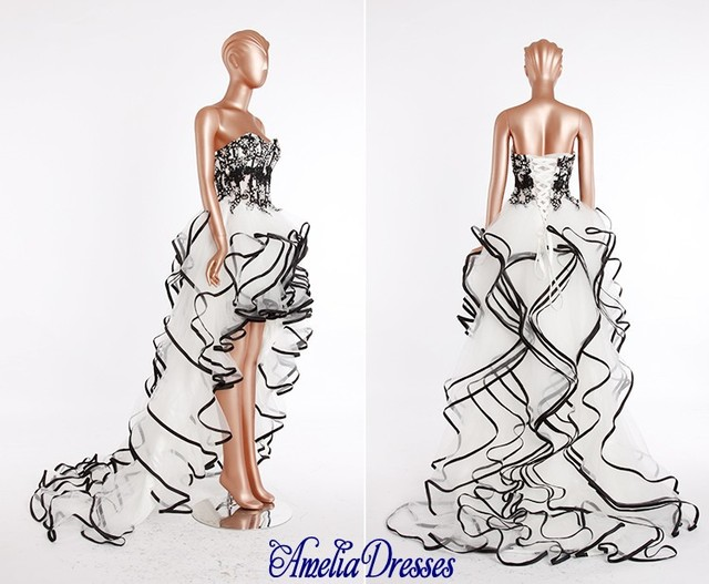 AW 484 Latest white and black high low wedding dress patterns ...