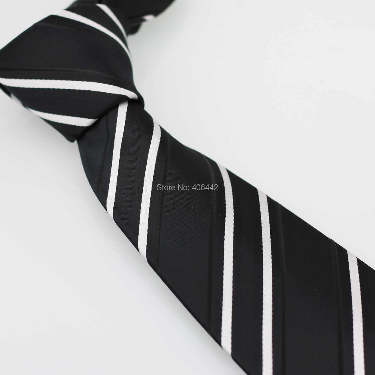Coachella pria Hitam Dengan Putih Diagonal Stripes Jacquard Woven Dasi Formal Neck Tie untuk pria kemeja Pernikahan