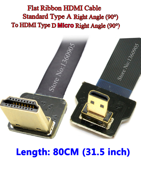 0.8m (80cm) Real Cable Flat Ribbon Ultra Thin slim flexible HDMI Standard right angle male to male Micro right angle converter 80 channels hdmi to dvb t modulator hdmi extender over coaxial