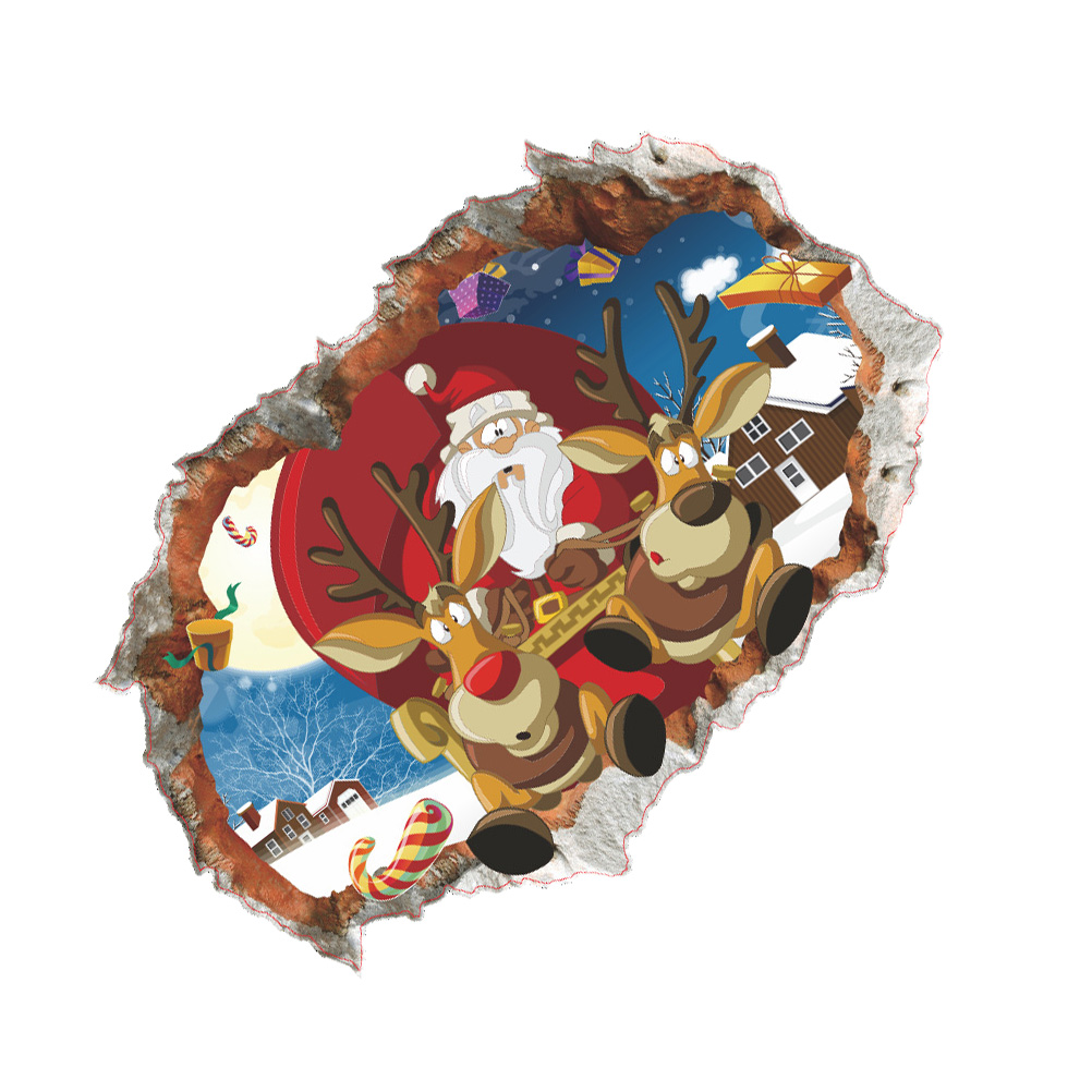 3d Wall Stick Removable Funny Sticker Broken Wall Santa