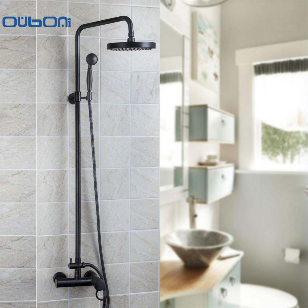 OUBONI New  Bathroom Waterfall Faucets  Shower Faucet Set Wall Mounted Rainfall Shower Faucet With Hand Shower Wall Mounted
