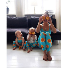 New 2pcs Family Matching Clothes Summer Pack Orange Print Trousers + Vest T-Shirt Sleeveless O-neck Look