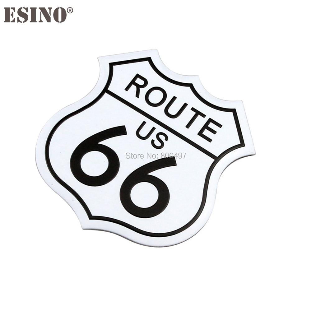 3D Metal 66 Road Route 66 Racing Front Hood Grille Badge Emblem