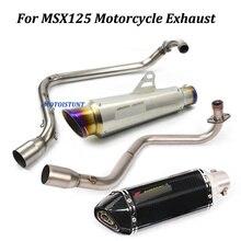 Escorregar para honda msx125 completo sistema de escape da motocicleta modificado silenciador com aço inoxidável frente tubo ligação do meio