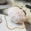 2016 Winter Simple Fashion Woolen Clip Bag Faux Fur Shoulder Bags Chain Crossbody Bag Ladies Day Clutch Evening Party Bags Small
