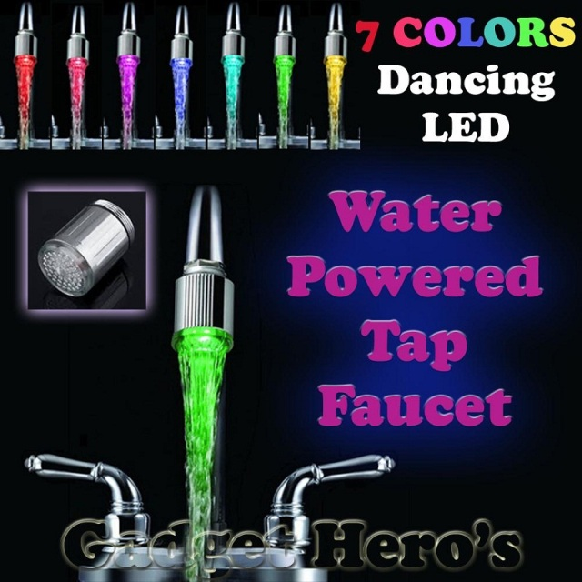 LED Water Faucet Light 7 Colors Changing Glow Shower Tap Head Water Stream Kitchen Bathroom Accessorie