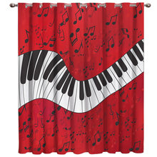 Piano Music Note Red Background Window Treatments Curtains Valance Window Curtains Dark Living Room Bathroom Blackout Fabric Kid(China)