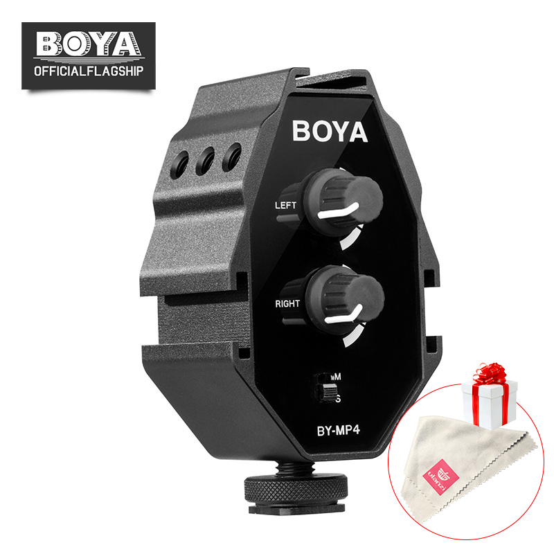 BOYA BY MP4 2 channel Audio Adapter with Mono and Stereo Switch Dual Mic Mounting for iPhone 8 Canon Nikon DSLR Camera Camcorder