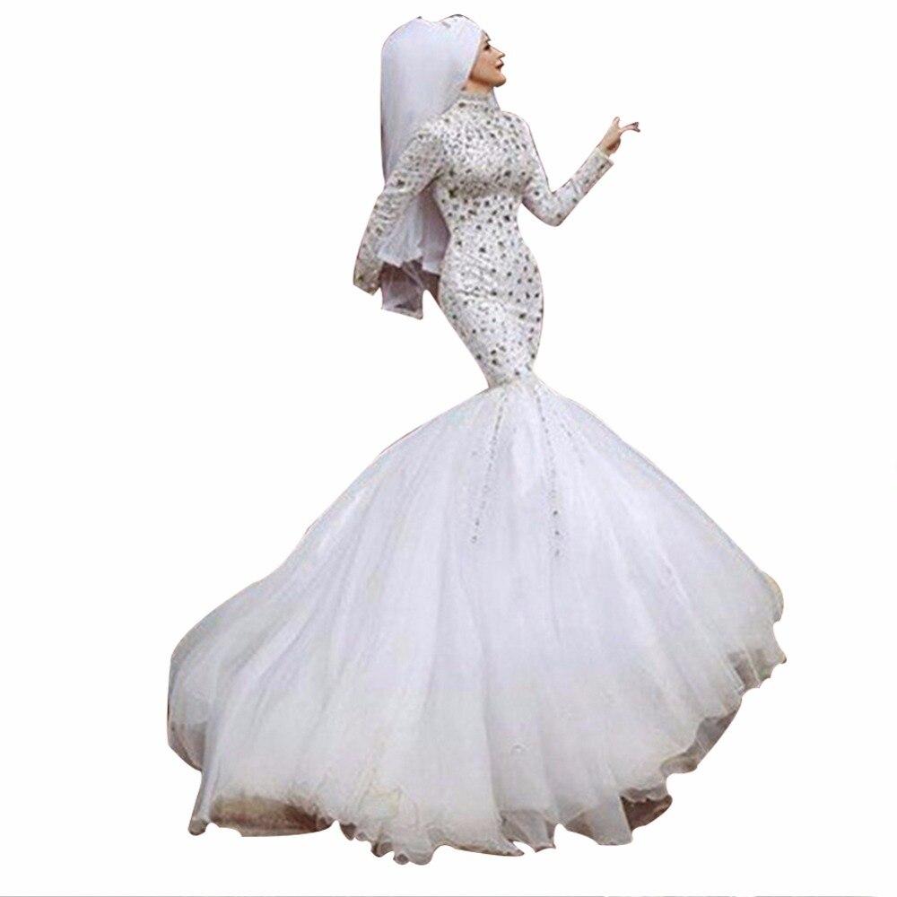 ZYLLGF Braut Mermaid Hijab Hochzeitskleid Strass Perlen Islamische ...