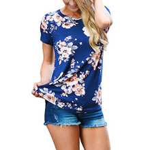 t shirt new arrival summer Fashion Short sleeves Print Floral O-Neck t-shirts women hipster top tee shirt femme Casual clothes grey random floral print round neck long sleeves t shirt