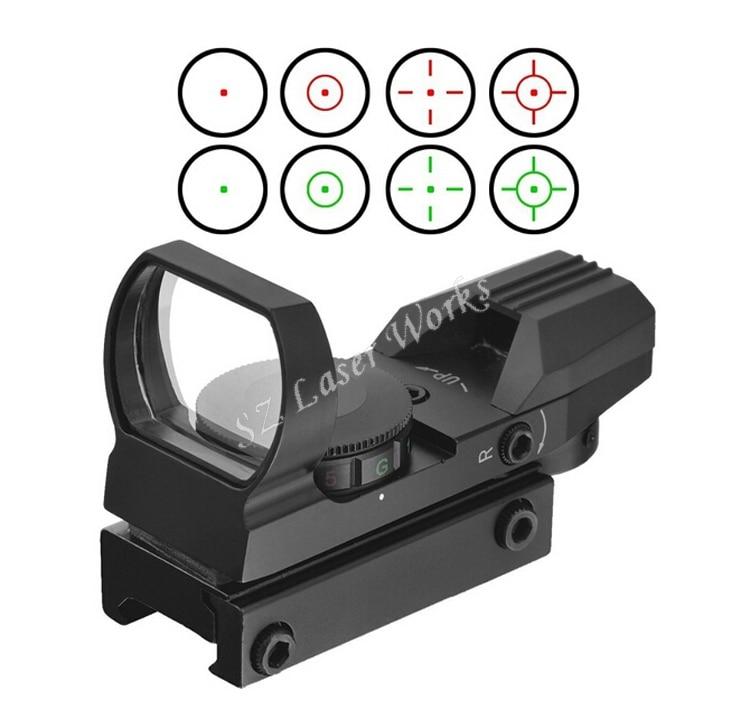 Taktikai optika 1x22 Vörös és zöld pont nyílt reflex látvány 4 típusú riflescope pisztolyhoz Airsoft Weaver 11mm / 22mm airsoft.gun