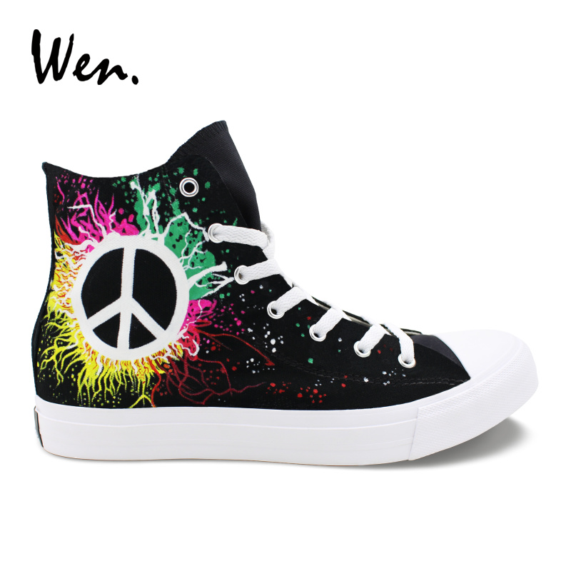 Wen Men Vulcanized Shoes Design Hand Painted Shoes Peace Symbol Black Canvas Sneakers Women High Top Espadrilles Flat Low Heeled e lov high end design women shoes hand painted dream graffiti casual canvas flat shoe low top canvas espadrilles
