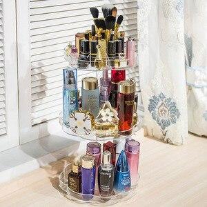 Image 4 - Extra Large Capacity 360 Degree Rotating Makeup Organizer Lipstick Holder Adjustable Multi Function Cosmetics Storage Box