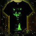 Hombres 3D Camiseta de Algodón de Los Hombres 3D camiseta de Manga Corta marca Fluorescencia lobo Impreso camiseta Informal masculina Diseñado Camisas 2015 nueva