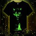 Homens 3D T-shirt de Algodão Camisa de t Dos Homens 3D Manga Curta marca Fluorescência lobo Impresso camiseta Casual masculino Projetado Camisas 2015 nova