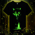 Men 3D T-shirt Cotton Men 3D t Shirt Short Sleeve Brand Fluorescence wolf Printed  Casual tshirt male Designed Shirts 2015 New