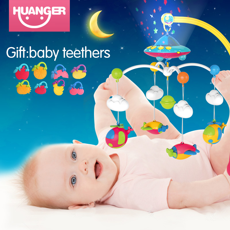 Huanger Bébé lit cloche nouveau-né 0-12months jouets rotation musique pendaison bébé hochet support ensemble lit bébé mobile porte-bébé jouets