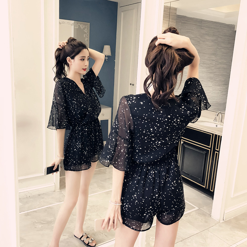 008ede6adc4 2018 summer new female Korean version slim loose chiffon high waist cross  v-neck wave star print jumpsuit shorts