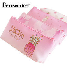 купить Faux Leather Pink Pineapple Student Pencil Case School Pencil Cases For Girl Stationery Pencil Box Pen Bag Pouch Office Supplies по цене 129.41 рублей