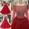 Custom Size 2017 New Long Sleeve Ball Gown Crystal Bead Vestidos De Festa Elegant Red Evening Dresses Party Dress Prom Gown PS02