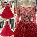 Tamaño personalizado 2017 Nuevo Grano Cristalino Vestidos de Bola de La Manga Larga Vestidos de Noche Del Partido de Baile Vestido De Festa Elegante Rojo PS02