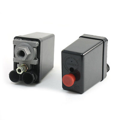 2Pcs AC 240V 1/4PT Female Thread 12Bar 1 Port 2NC Air Compressor Pressure Switch