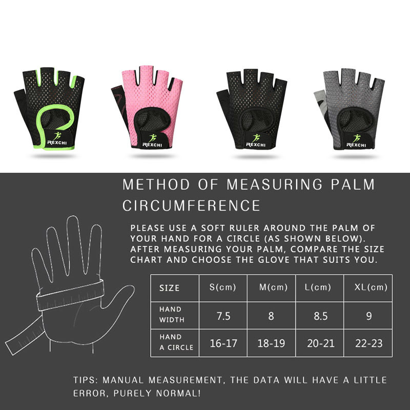REXCHI Professional Gym Fitness Gloves Power Weight Lifting Women Men Crossfit Workout Bodybuilding Half Finger Hand