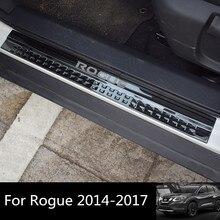 Для посторонних 2014-2017 автомобиль порога подкладке порог Накладка черный Нержавеющаясталь порога гвардии пластины для Nissan rogue 2017